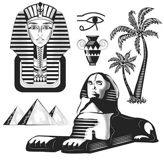 Set van egyptische rotsen, farao, palmen geïsoleerd op wit.