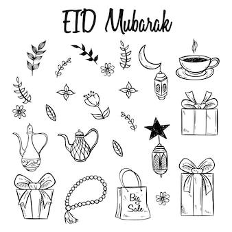 Set van eid mubarak pictogrammen of elementen met hand getrokken stijl