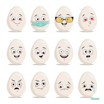Set van eieren met een gezicht en verschillende emoties