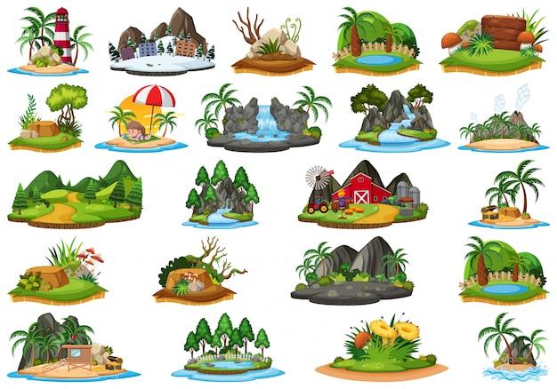 Set van eiland natuur landschap