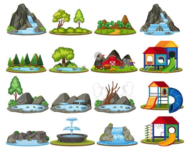 Set van eiland voor decoratie