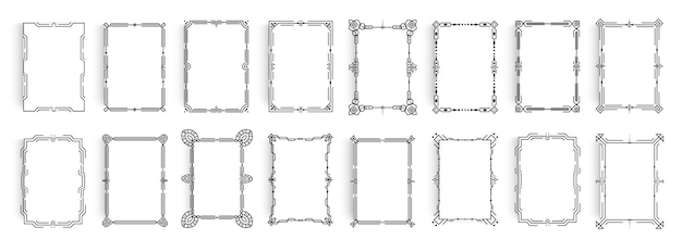 Set van elegant frame in luxe antieke stijl klassieke decoratie frames voor elegantie uitnodiging