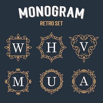Set van elegant monogramontwerp.