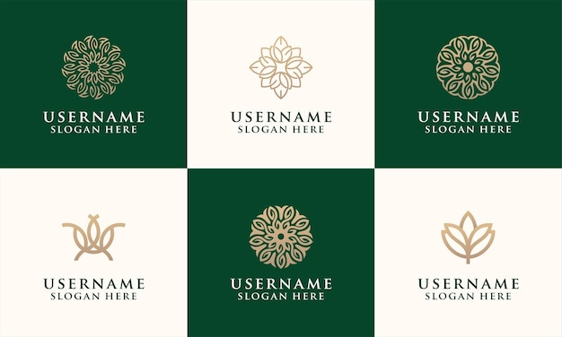 Set van elegante bloem logo ontwerpsjabloon voor mode, salon, spa, yoga-logo