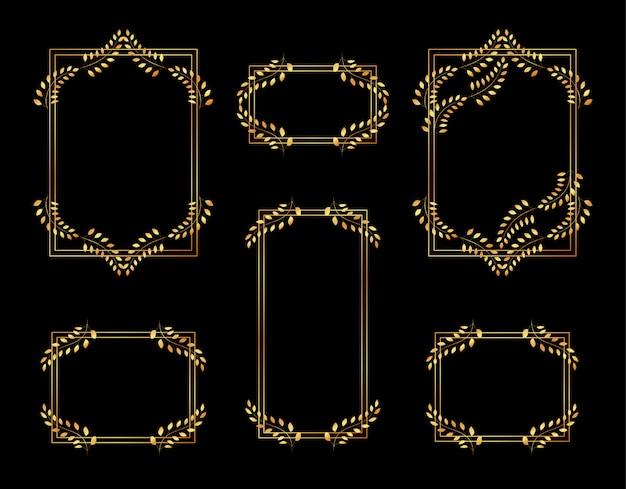 Set van elegante bloemen frames geïsoleerd op zwart