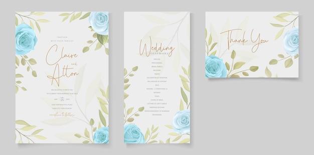 Set van elegante bloemen huwelijksuitnodigingen