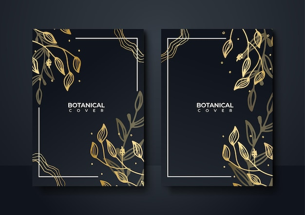 Set van elegante brochure, kaart, dekking. zwarte en gouden marmeren textuur. uitstekende gouden achtergrond. geometrisch kader. palm exotische bladeren. botanische kunst