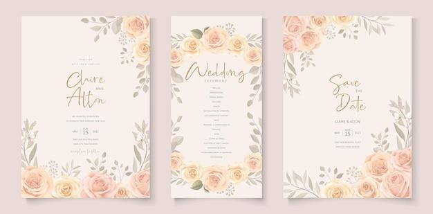 Set van elegante bruiloft kaartsjabloon met hand getrokken florale decoratie