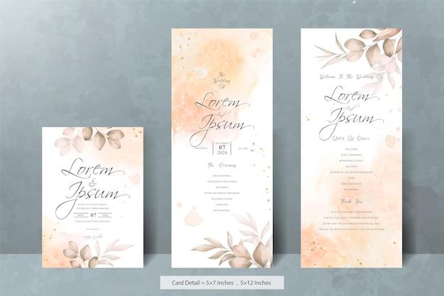 Set van elegante bruiloft uitnodigingskaarten sjabloon met aquarel handgetekende bloemen