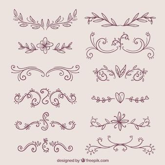 Set van elegante decoratieve hand getekende grenzen