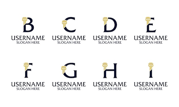 Set van elegante eerste pijler, advocatenkantoor, advocaat logo ontwerpsjabloon