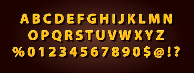 Set van elegante gele honingbij alfabet lettertype voor logo, poster, uitnodiging. vector illustratie