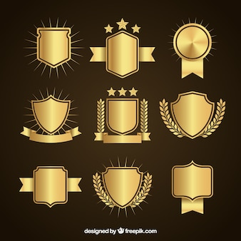 Set van elegante gouden schilden
