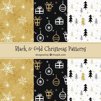 Set van elegante kerstpatronen