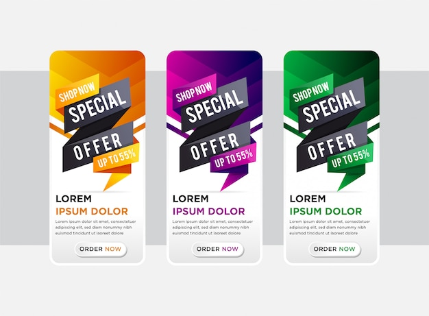 Set van elegante verticale banners met papier gesneden speciale aanbieding element ontwerp. abstracte sjablonen voor verhaalbanner op de website. de elementkleuren zijn oranje, paars, zwart en groen verloop.