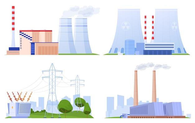 Set van elektrische centrales van verschillende typen
