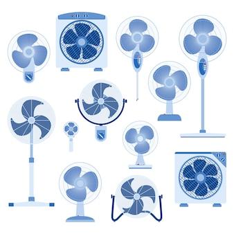 Set van elektrische ventilator in platte ontwerpstijl