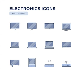 Set van elektronica gerelateerde vector gekleurde pictogrammen. bevat pictogrammen zoals televisie, computer, laptop, wifi en meer.