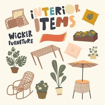 Set van elementen interieurartikelen en rieten meubelthema