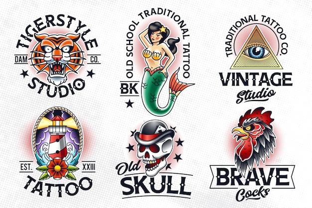 Set van emblemen in traditionele tattoo-stijl. old school tattoo logo sjablonen.