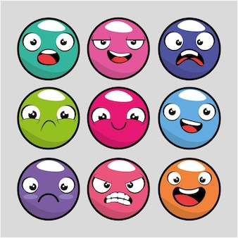 Set van emoji emoticon cartoon