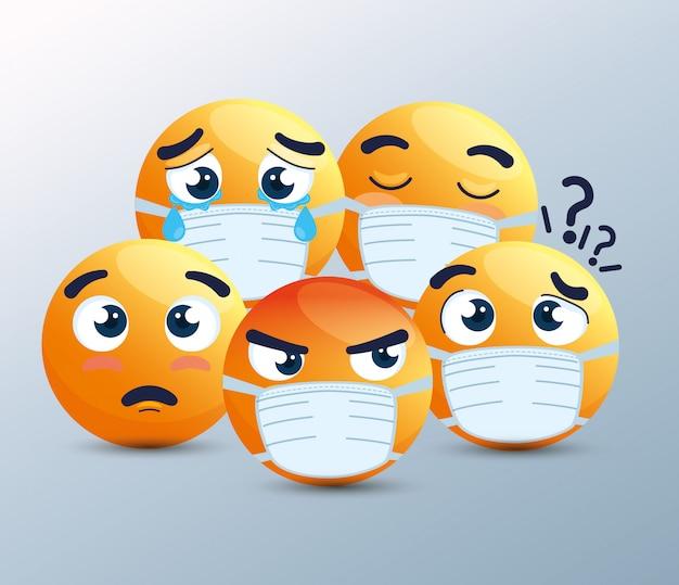 Set van emoji met medisch masker, gele gezichten met witte chirurgische maskers, pictogrammen voor uitbraak van het coronavirus
