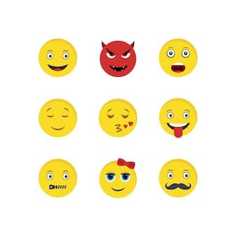 Set van emoji pictogrammen op witte achtergrond vector geïsoleerde elementen