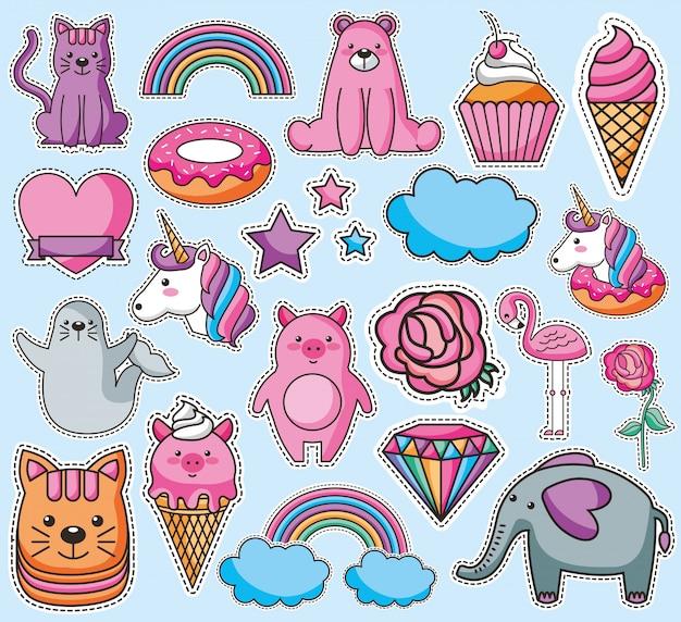 Set van emoji's kawaii tekens