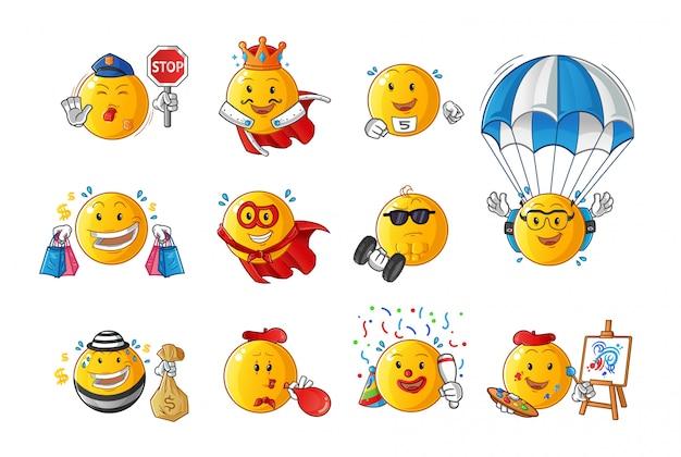 Set van emoticon beroep