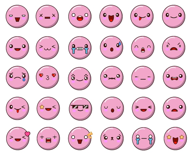 Set van emoticon geïsoleerd op wit