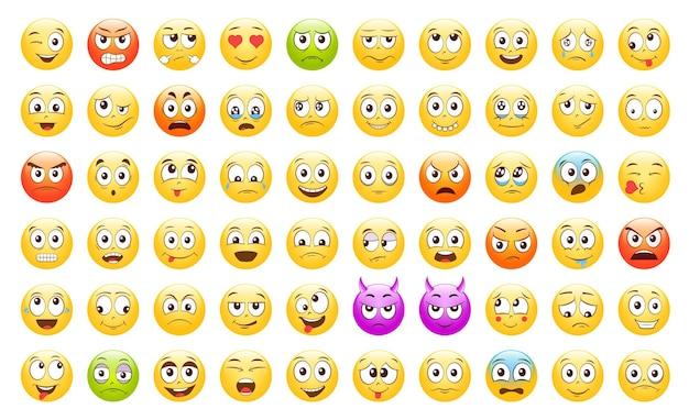 Set van emoticons emoji smile-pictogrammen geïsoleerde vectorillustratie op witte achtergrond