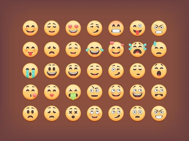 Set van emoticons, smileys icon pack, emoji op bruine achtergrond, illustratie.