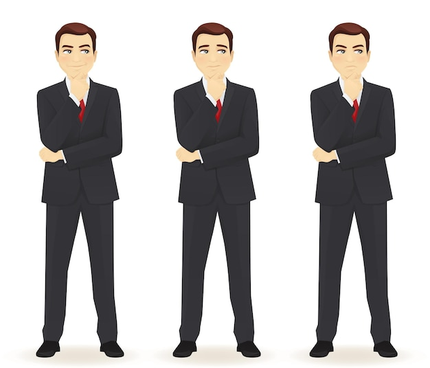 Set van emoties doordachte zakenman geïsoleerd. verschillende gezichtsuitdrukkingen