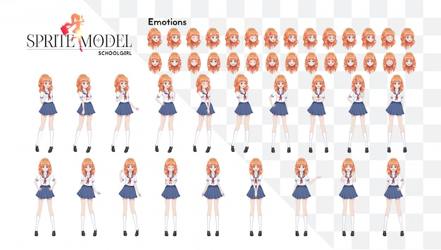 Set van emoties. karakter van volledige lengte voor visuele game-roman. anime manga meisje, stripfiguur in japanse stijl. schoolmeisje in een matrozenpak, blauwe rok
