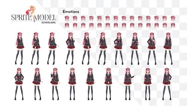 Set van emoties. sprite karakter van volledige lengte voor game visuele roman. anime-mangameisje, stripfiguur in japanse stijl. in een wit overhemd, een rode rok in een kooi, een das en zwarte kousen