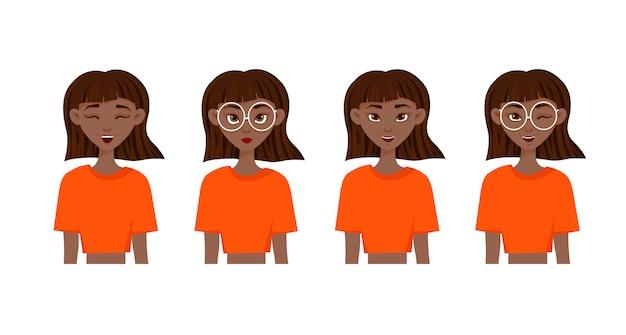 Set van emoties van de vrouw. gezichtsuitdrukking. meisjesavatar. vectorillustratie van een platte ontwerp. Premium Vector