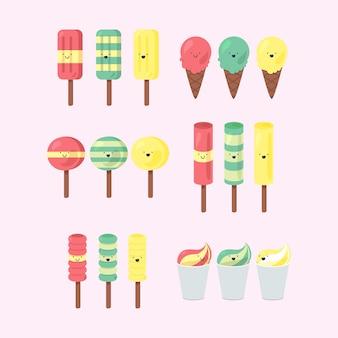 Set van emotionele ijsjes met een glimlach en drie kleurenthema's