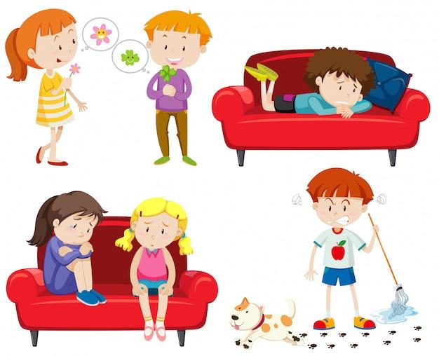 Set van emotionele kinderen