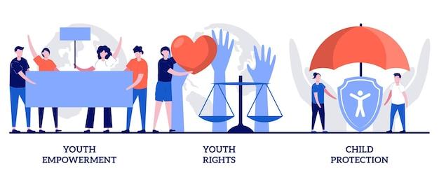 Set van empowerment en rechten van jongeren, kinderbescherming, bescherming van jongerenrechten