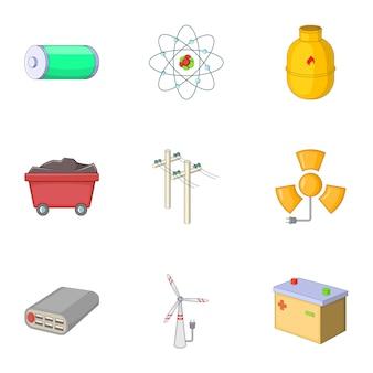Set van energiebronnen, cartoon-stijl