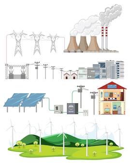 Set van energiebronnen op witte achtergrond