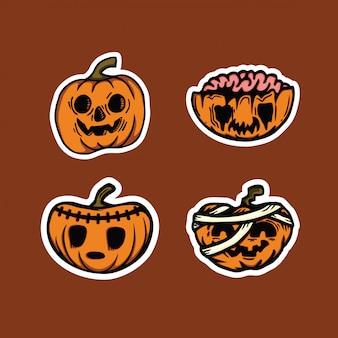 Set van enge pompoenen halloween karakter
