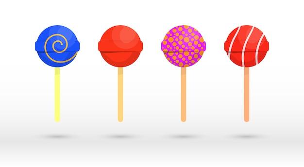 Set van enkele cartoon snoepjes: lolly, suikerriet, bonbon, teddybeermarmelade, zoethout. caramel snoep poster voor zoetwaren of snoepwinkel. geassorteerde verpakte snoepjes. illustratie.