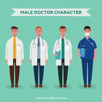 Set van ernstige mannelijke artsen