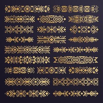 Set van etnische azteekse vectorelementen ornamenten