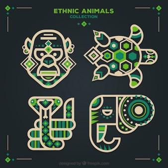 Set van etnische dieren in plat design