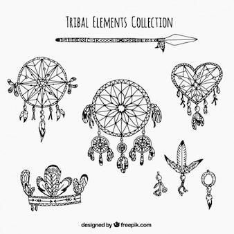 Set van etnische elementen en dreamcatchers