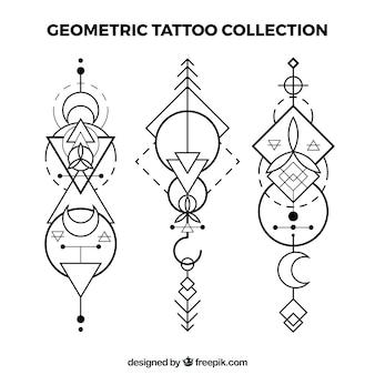 Set van etnische geometrische tatoeages