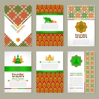Set van etnische indiase banners in nationale kleuren lay-out ontwerp