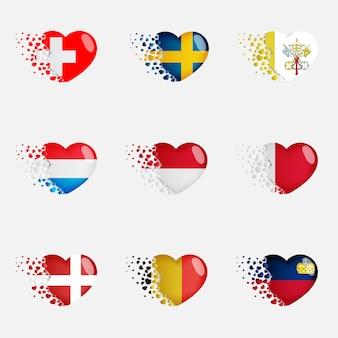 Set van europese vlaggen van het land in harten